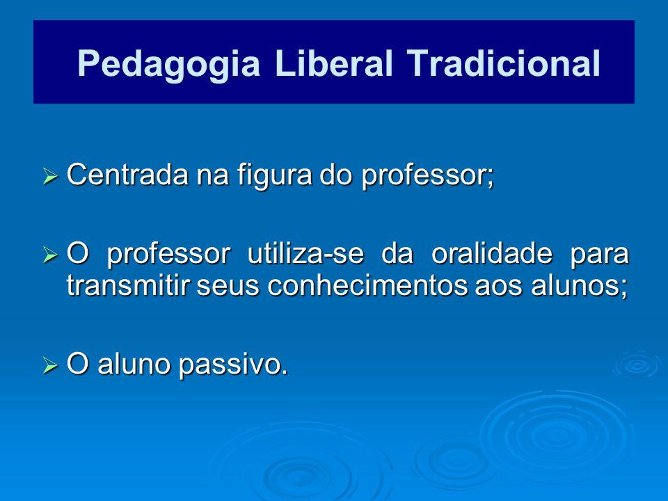 Centrada na figura do professor; Centrada na figura do professor; O professor utiliza-se da oralidade para transmitir seus conhecimentos aos alunos; O