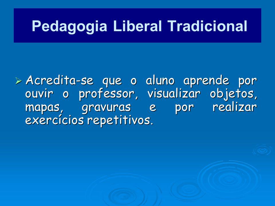 Acredita-se que o aluno aprende por ouvir o professor, visualizar objetos, mapas, gravuras e por realizar exercícios repetitivos. Acredita-se que o al