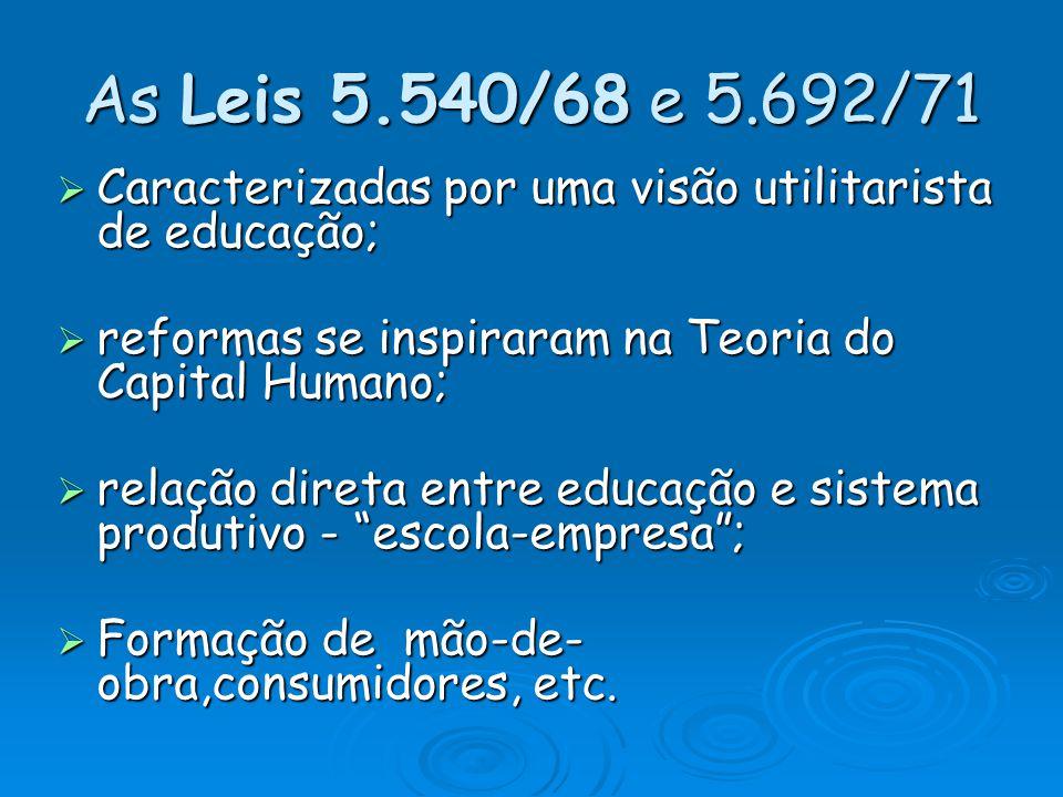 As Leis 5.540/68 e 5.692/71 Caracterizadas por uma visão utilitarista de educação; Caracterizadas por uma visão utilitarista de educação; reformas se