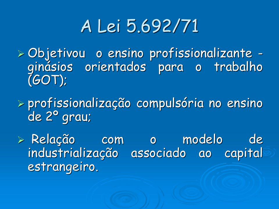 A Lei 5.692/71 Objetivou o ensino profissionalizante - ginásios orientados para o trabalho (GOT); Objetivou o ensino profissionalizante - ginásios ori