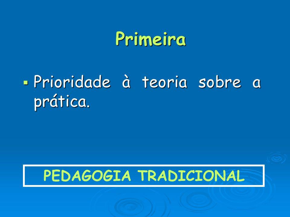 Primeira Prioridade à teoria sobre a prática. Prioridade à teoria sobre a prática. PEDAGOGIA TRADICIONAL