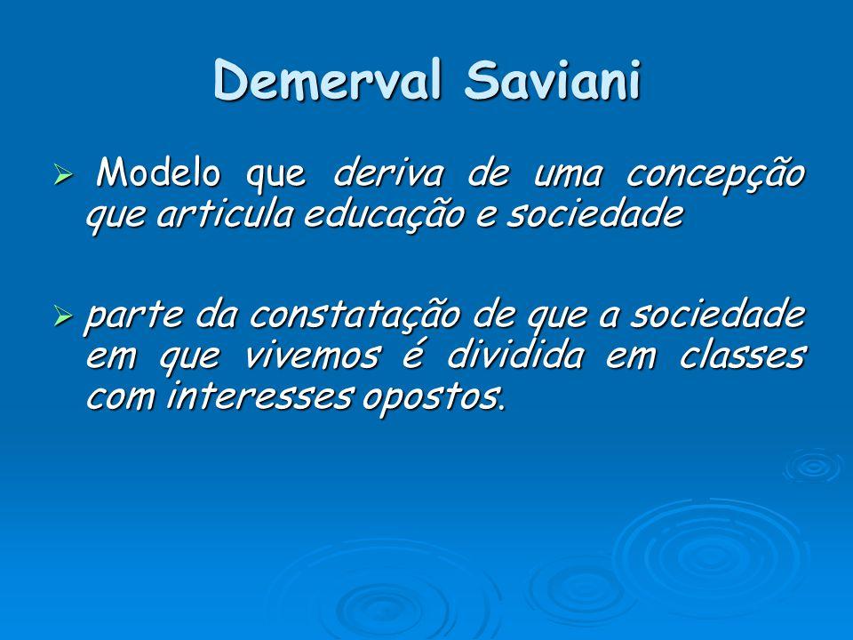 Demerval Saviani Modelo que deriva de uma concepção que articula educação e sociedade Modelo que deriva de uma concepção que articula educação e sociedade parte da constatação de que a sociedade em que vivemos é dividida em classes com interesses opostos.
