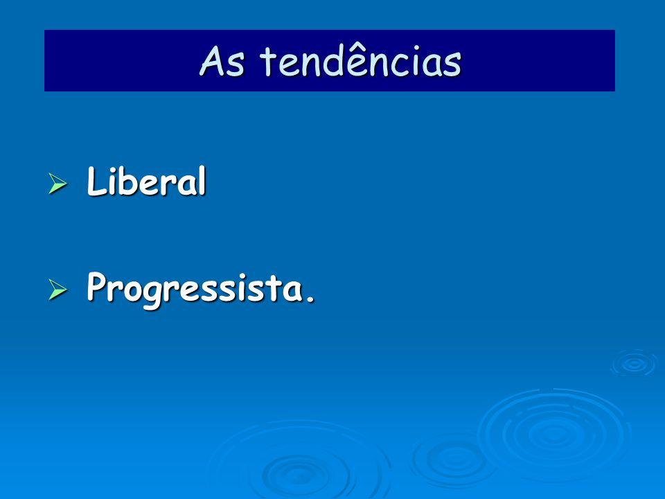 Liberal Liberal Progressista. Progressista. As tendências