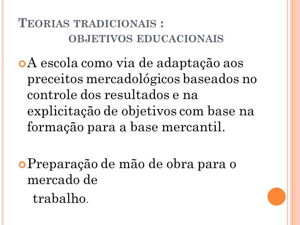 T EORIAS TRADICIONAIS : OBJETIVOS EDUCACIONAIS A escola como via de adaptação aos preceitos mercadológicos baseados no controle dos resultados e na ex