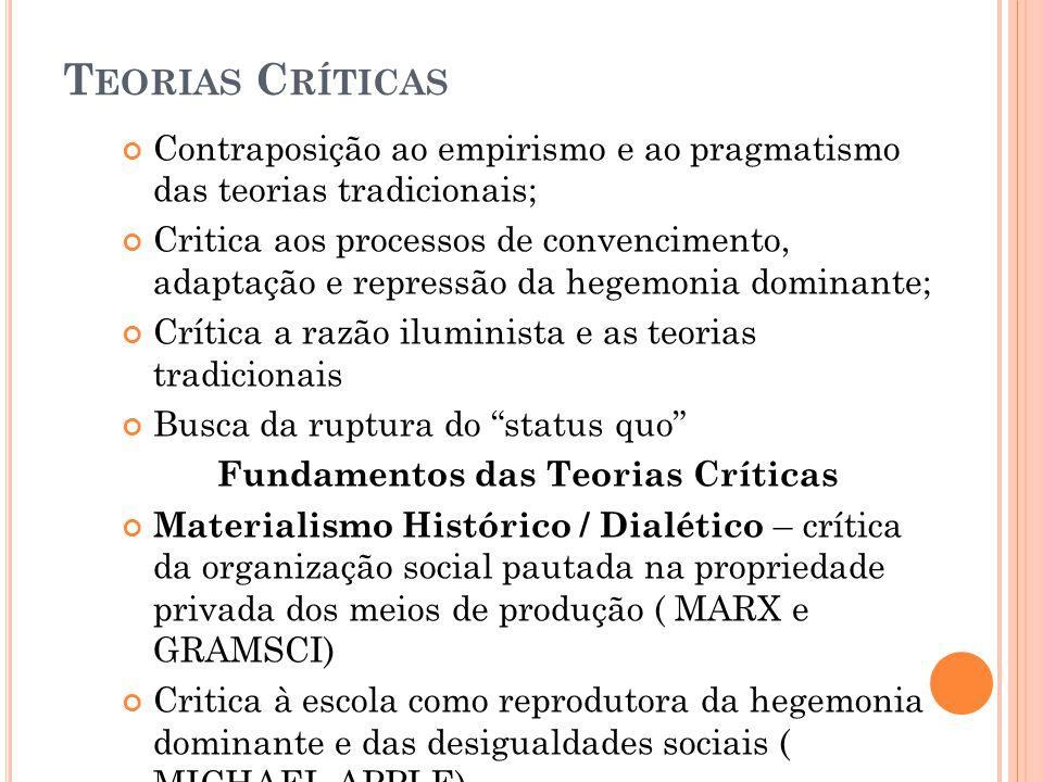 T EORIAS C RÍTICAS Contraposição ao empirismo e ao pragmatismo das teorias tradicionais; Critica aos processos de convencimento, adaptação e repressão
