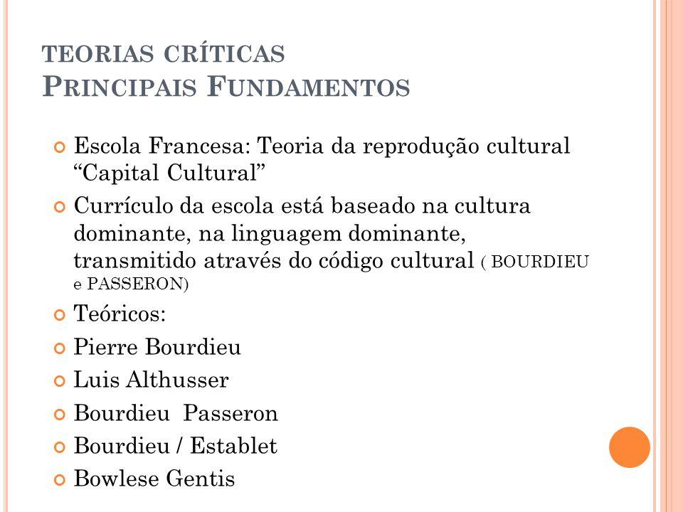 TEORIAS CRÍTICAS P RINCIPAIS F UNDAMENTOS Escola Francesa: Teoria da reprodução cultural Capital Cultural Currículo da escola está baseado na cultura