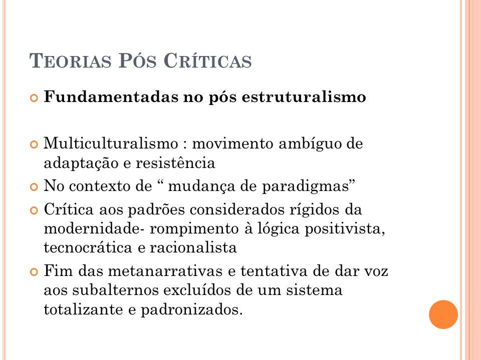 T EORIAS P ÓS C RÍTICAS Fundamentadas no pós estruturalismo Multiculturalismo : movimento ambíguo de adaptação e resistência No contexto de mudança de