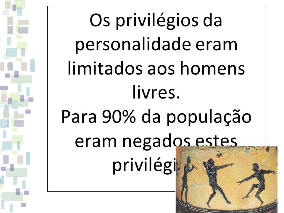 Os privilégios da personalidade eram limitados aos homens livres. Para 90% da população eram negados estes privilégios.