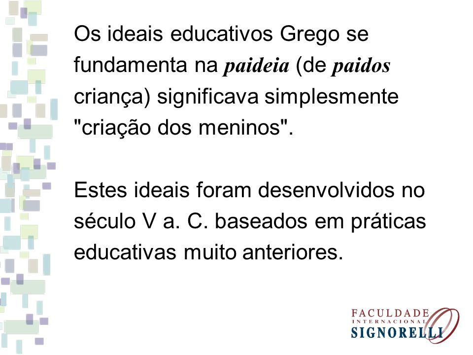 Os ideais educativos Grego se fundamenta na paideia (de paidos criança) significava simplesmente