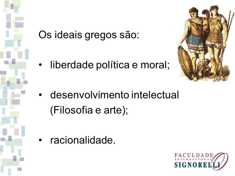 Os ideais gregos são: liberdade política e moral; desenvolvimento intelectual (Filosofia e arte); racionalidade.