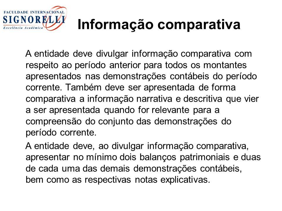 Informação comparativa A entidade deve divulgar informação comparativa com respeito ao período anterior para todos os montantes apresentados nas demon