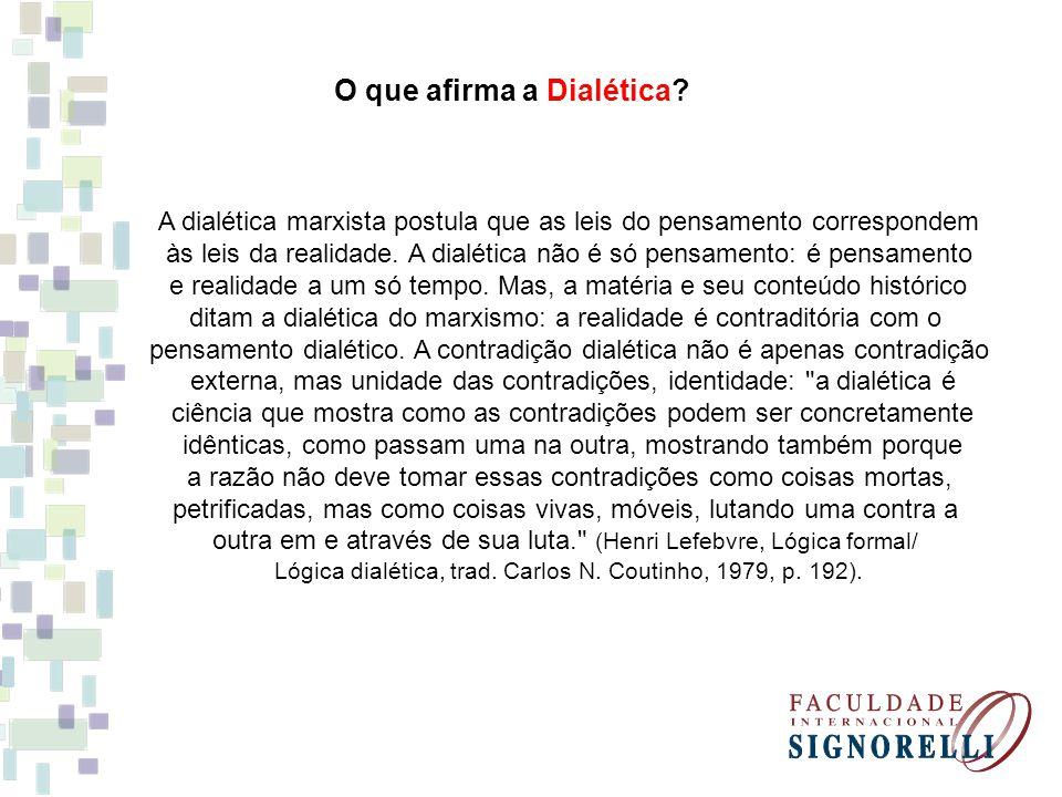 O que afirma a Dialética? A dialética marxista postula que as leis do pensamento correspondem às leis da realidade. A dialética não é só pensamento: é