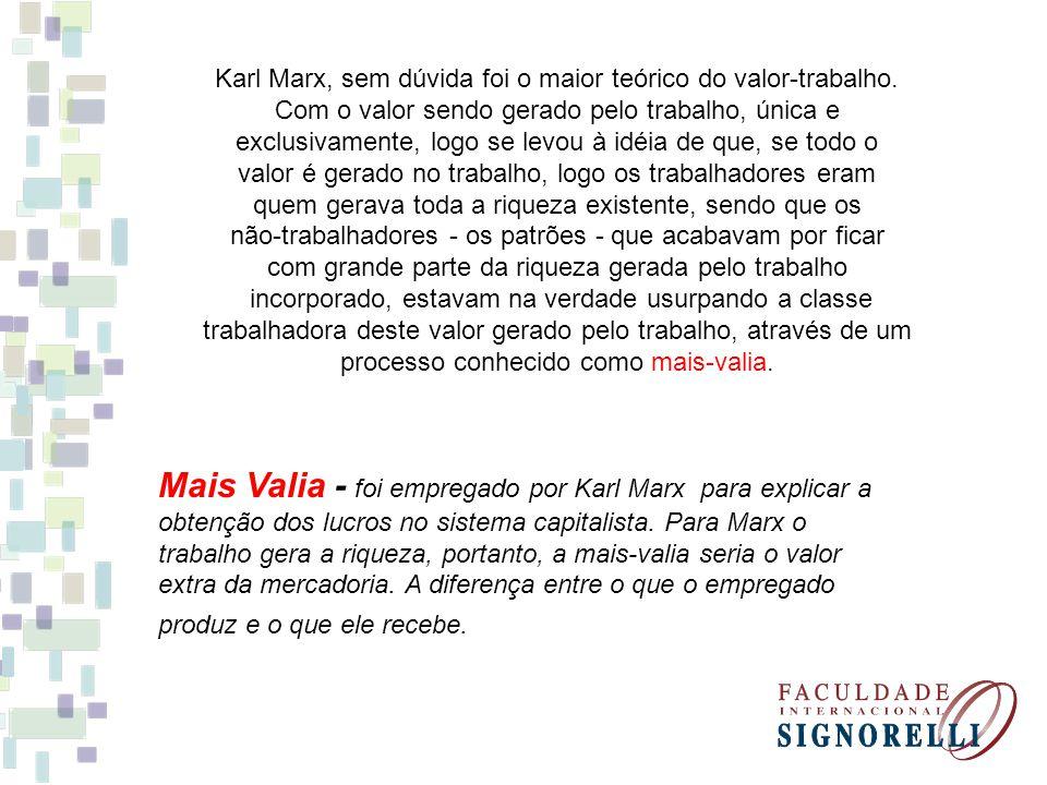 Karl Marx, sem dúvida foi o maior teórico do valor-trabalho. Com o valor sendo gerado pelo trabalho, única e exclusivamente, logo se levou à idéia de