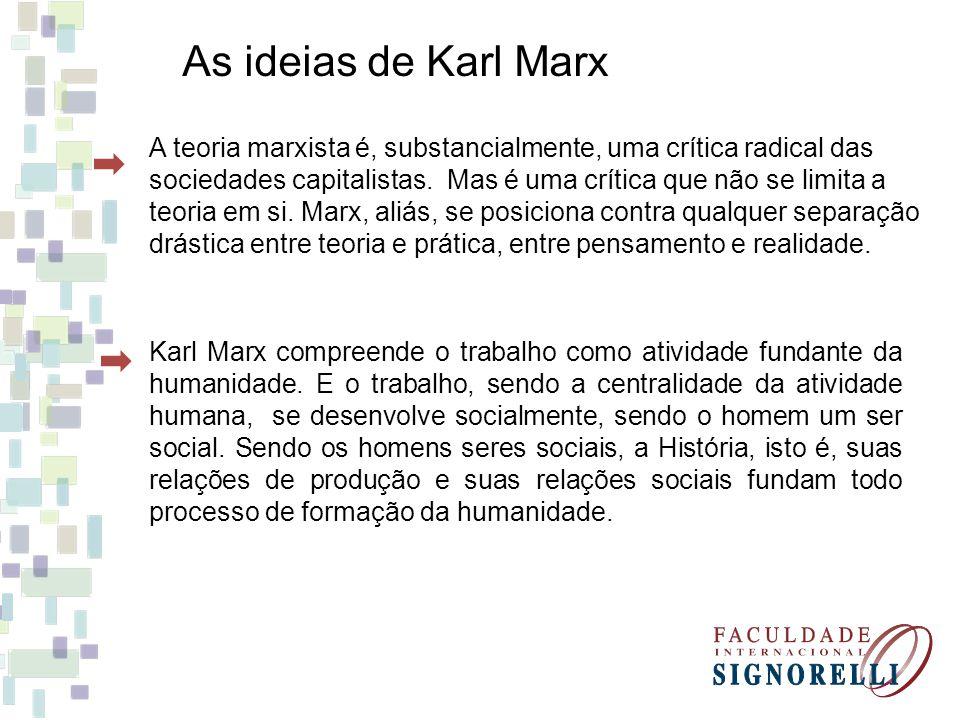 Teoria Marxista - Marxismo A teoria marxista é, substancialmente, uma crítica radical das sociedades capitalistas.