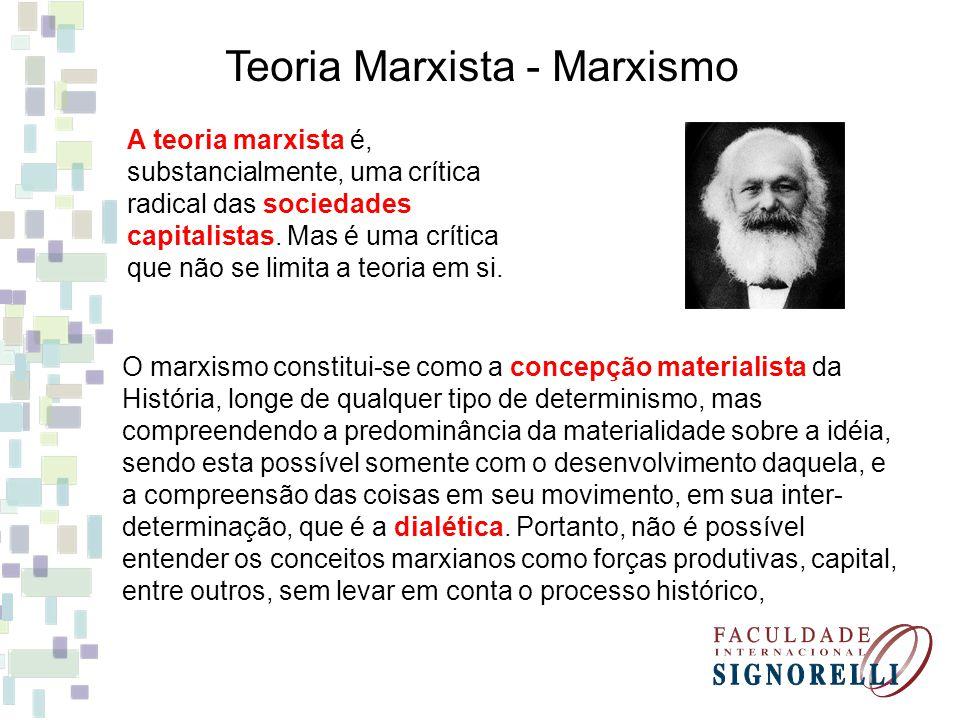 Teoria Marxista - Marxismo A teoria marxista é, substancialmente, uma crítica radical das sociedades capitalistas. Mas é uma crítica que não se limita