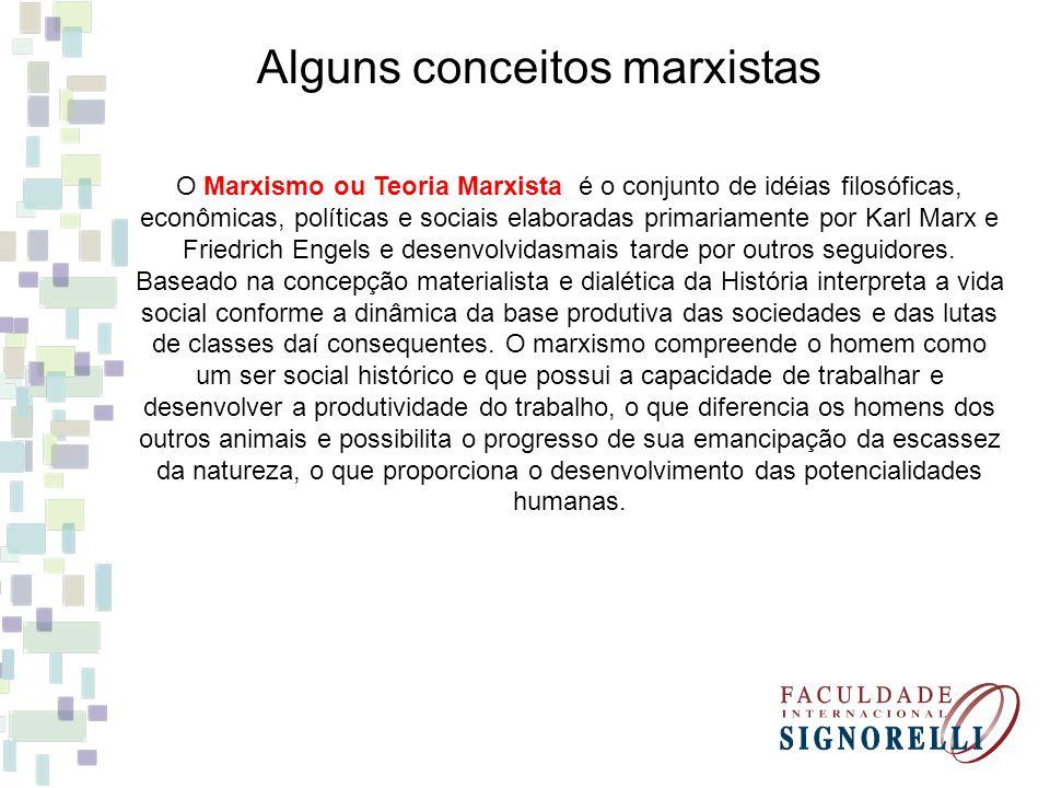 Alguns conceitos marxistas O Marxismo ou Teoria Marxista é o conjunto de idéias filosóficas, econômicas, políticas e sociais elaboradas primariamente