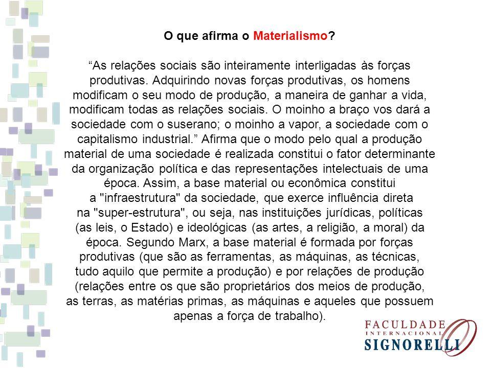 O que afirma o Materialismo? As relações sociais são inteiramente interligadas às forças produtivas. Adquirindo novas forças produtivas, os homens mod