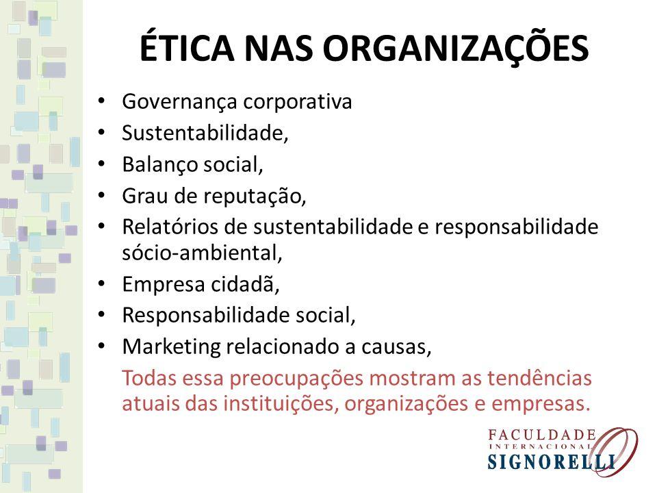 ÉTICA NAS ORGANIZAÇÕES Governança corporativa Sustentabilidade, Balanço social, Grau de reputação, Relatórios de sustentabilidade e responsabilidade s