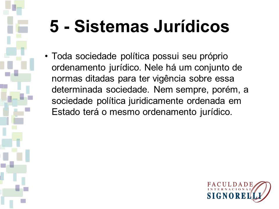 5 - Sistemas Jurídicos Toda sociedade política possui seu próprio ordenamento jurídico. Nele há um conjunto de normas ditadas para ter vigência sobre