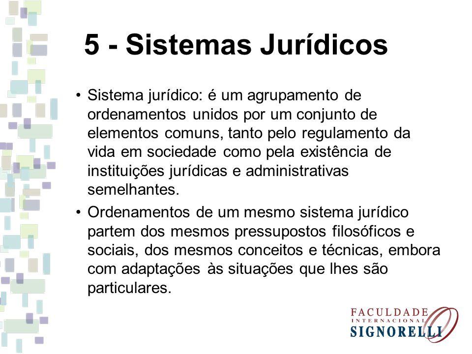 5 - Sistemas Jurídicos Sistema jurídico: é um agrupamento de ordenamentos unidos por um conjunto de elementos comuns, tanto pelo regulamento da vida e