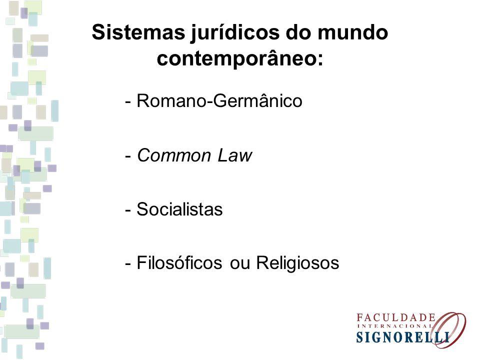 Sistemas jurídicos do mundo contemporâneo: - Romano-Germânico - Common Law - Socialistas - Filosóficos ou Religiosos