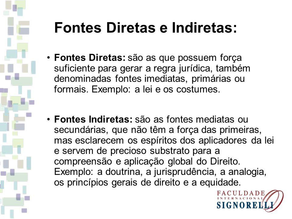 Fontes Diretas e Indiretas: Fontes Diretas: são as que possuem força suficiente para gerar a regra jurídica, também denominadas fontes imediatas, prim