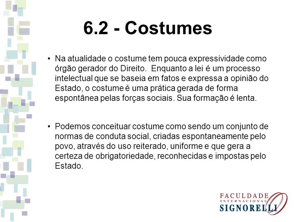 6.2 - Costumes Na atualidade o costume tem pouca expressividade como órgão gerador do Direito. Enquanto a lei é um processo intelectual que se baseia
