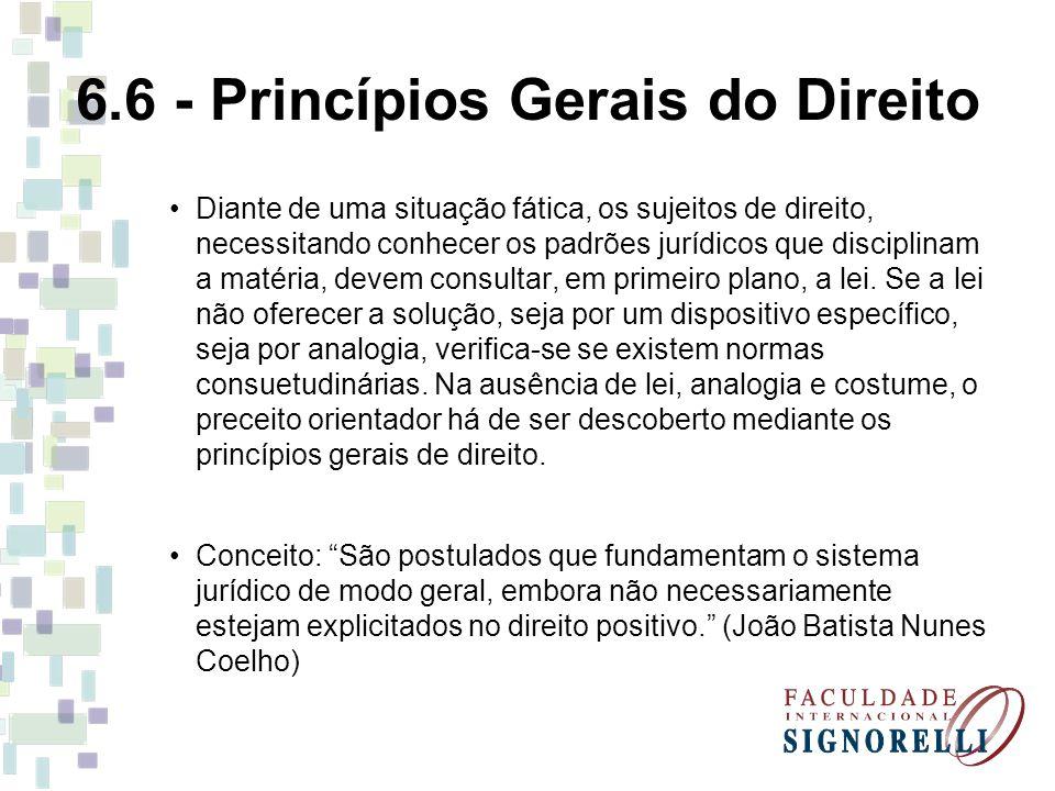 6.6 - Princípios Gerais do Direito Diante de uma situação fática, os sujeitos de direito, necessitando conhecer os padrões jurídicos que disciplinam a