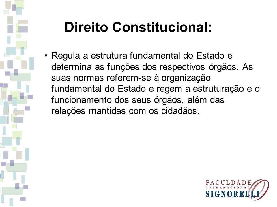 Direito Constitucional: Regula a estrutura fundamental do Estado e determina as funções dos respectivos órgãos. As suas normas referem-se à organizaçã