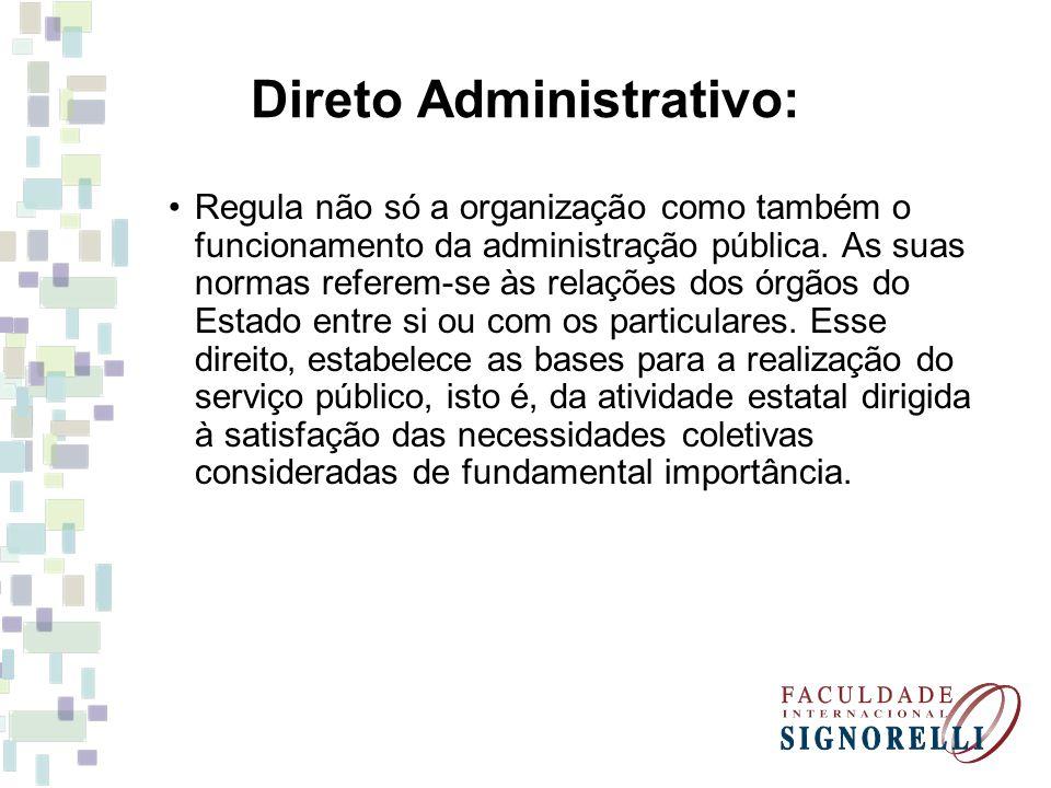 Direto Administrativo: Regula não só a organização como também o funcionamento da administração pública. As suas normas referem-se às relações dos órg
