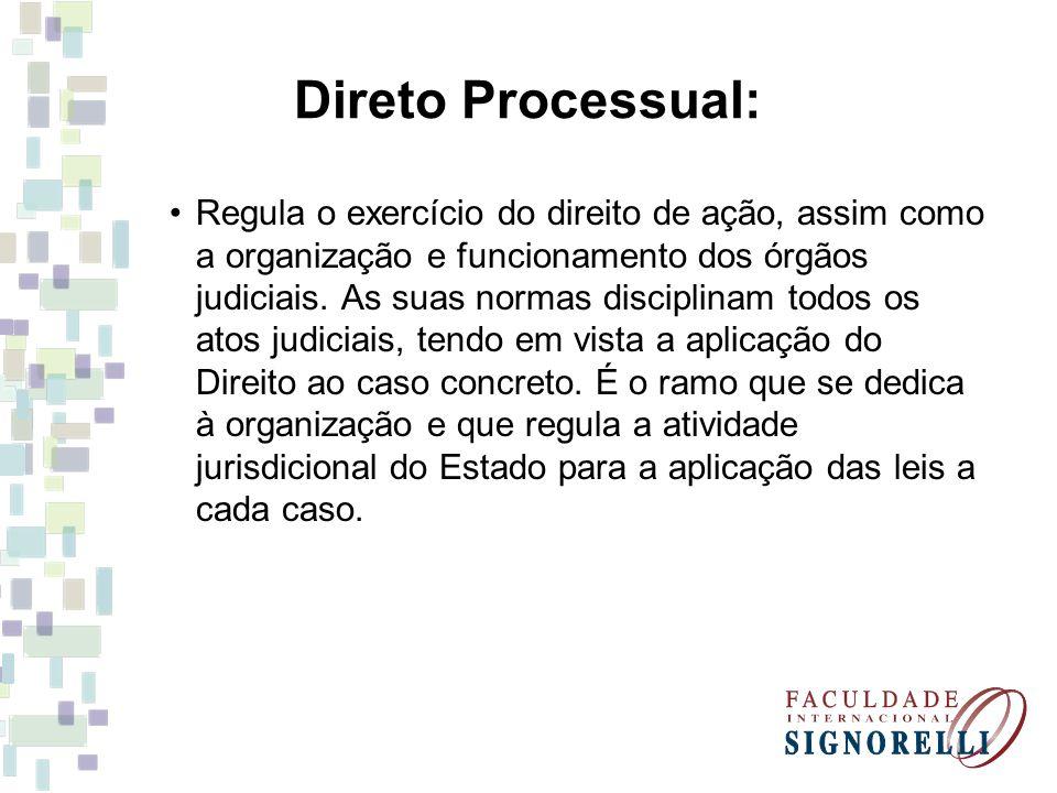 Direto Processual: Regula o exercício do direito de ação, assim como a organização e funcionamento dos órgãos judiciais. As suas normas disciplinam to