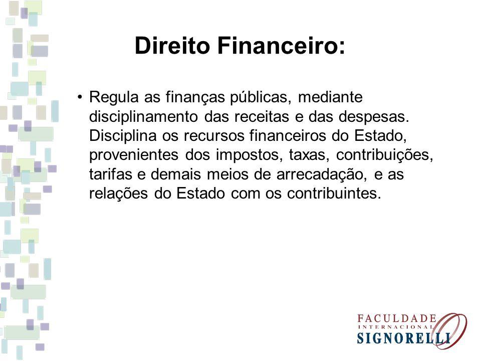 Direito Financeiro: Regula as finanças públicas, mediante disciplinamento das receitas e das despesas. Disciplina os recursos financeiros do Estado, p