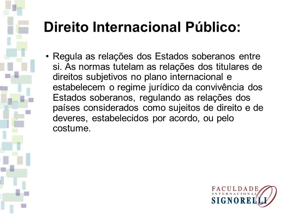 Direito Internacional Público: Regula as relações dos Estados soberanos entre si. As normas tutelam as relações dos titulares de direitos subjetivos n
