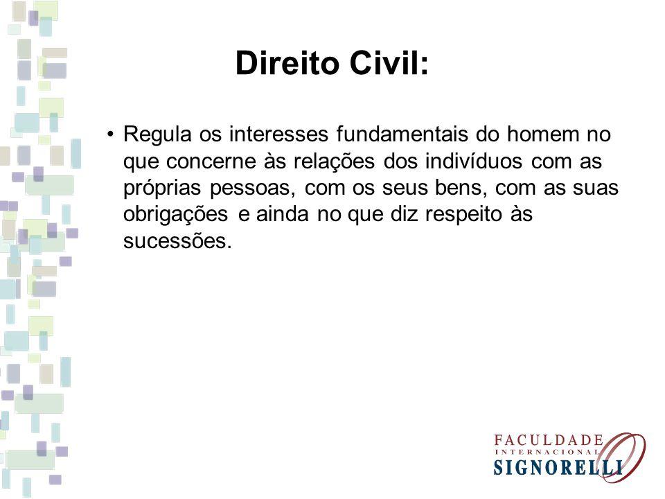 Direito Civil: Regula os interesses fundamentais do homem no que concerne às relações dos indivíduos com as próprias pessoas, com os seus bens, com as