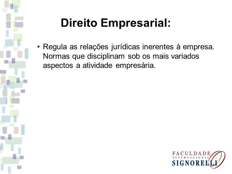 Direito Empresarial: Regula as relações jurídicas inerentes à empresa. Normas que disciplinam sob os mais variados aspectos a atividade empresária.