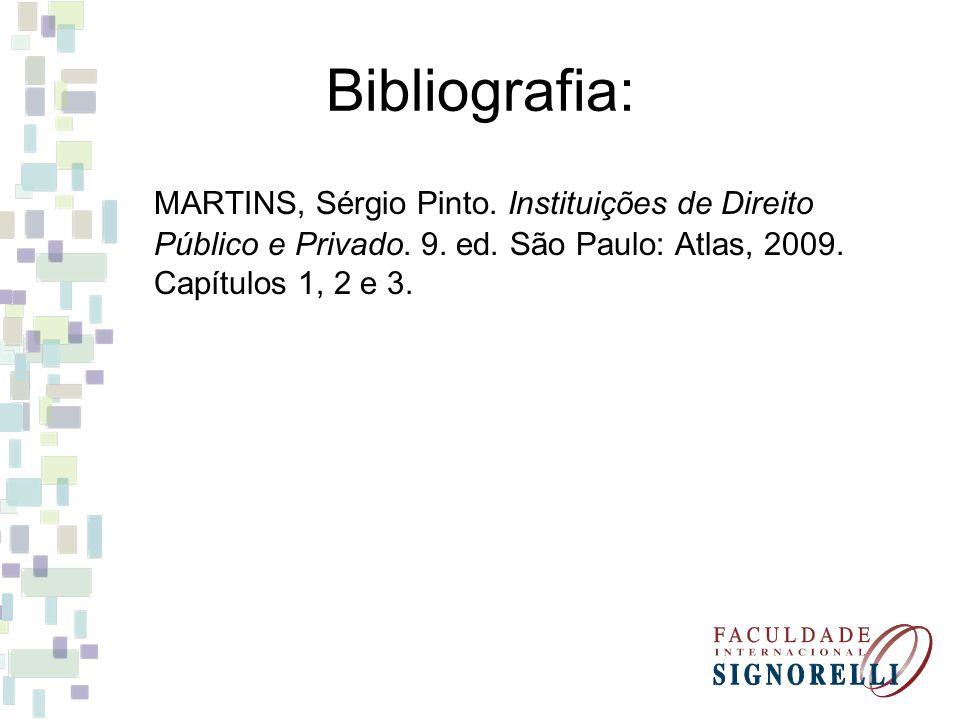Bibliografia: MARTINS, Sérgio Pinto. Instituições de Direito Público e Privado. 9. ed. São Paulo: Atlas, 2009. Capítulos 1, 2 e 3.