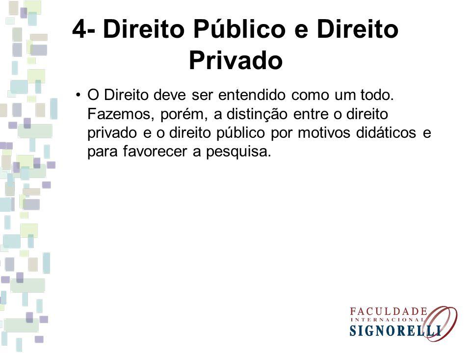 4- Direito Público e Direito Privado O Direito deve ser entendido como um todo. Fazemos, porém, a distinção entre o direito privado e o direito públic