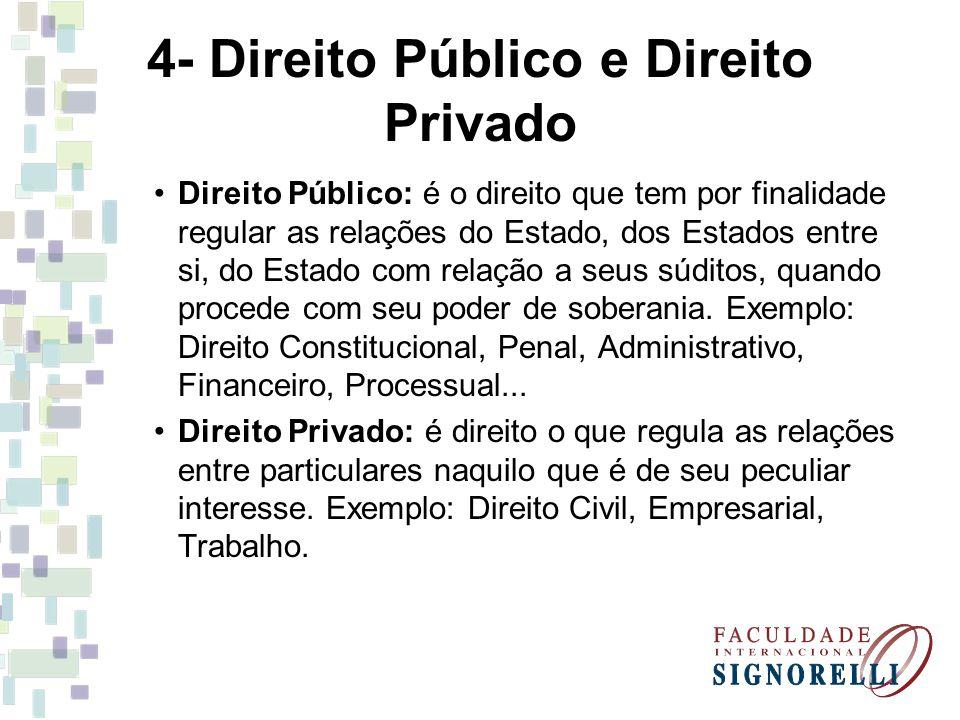 4- Direito Público e Direito Privado Direito Público: é o direito que tem por finalidade regular as relações do Estado, dos Estados entre si, do Estad