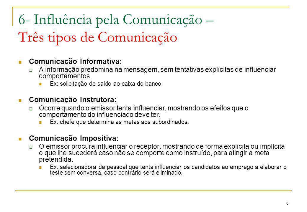 6 6- Influência pela Comunicação – Três tipos de Comunicação Comunicação Informativa: A informação predomina na mensagem, sem tentativas explícitas de influenciar comportamentos.