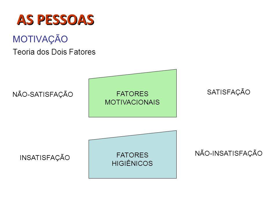 MOTIVAÇÃO Teoria dos Dois Fatores FATORES MOTIVACIONAIS FATORES HIGIÊNICOS SATISFAÇÃO NÃO-INSATISFAÇÃO NÃO-SATISFAÇÃO INSATISFAÇÃO AS PESSOAS