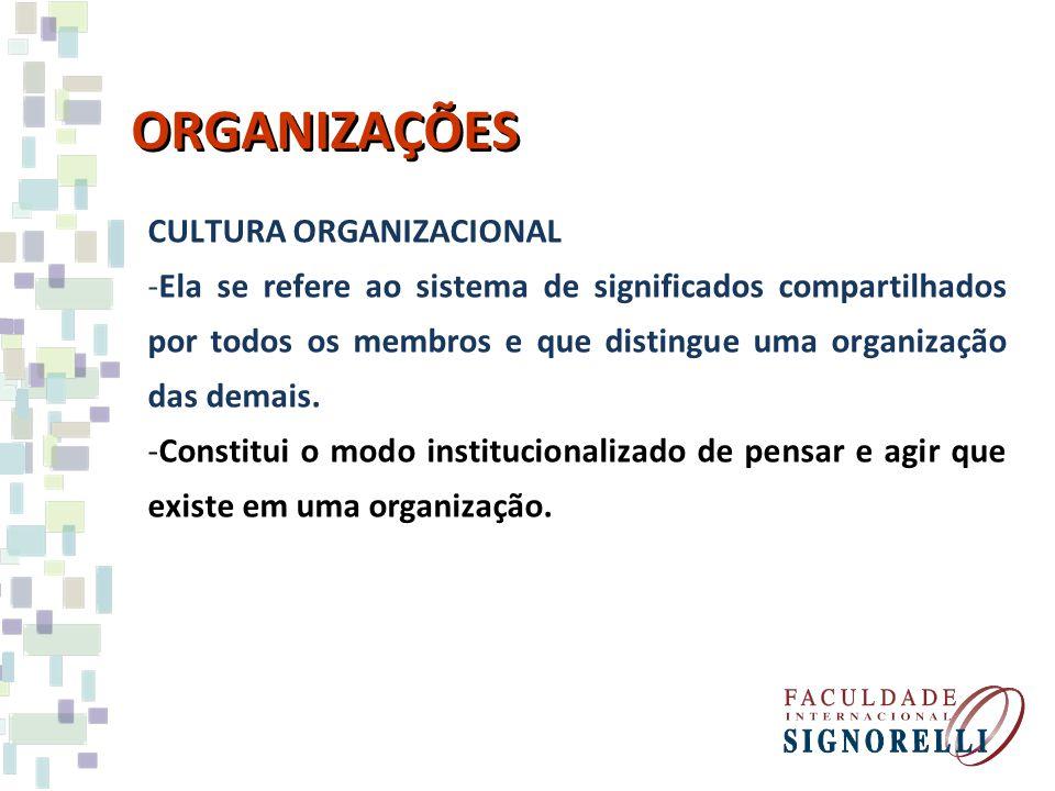 ORGANIZAÇÕES CULTURA ORGANIZACIONAL -Ela se refere ao sistema de significados compartilhados por todos os membros e que distingue uma organização das
