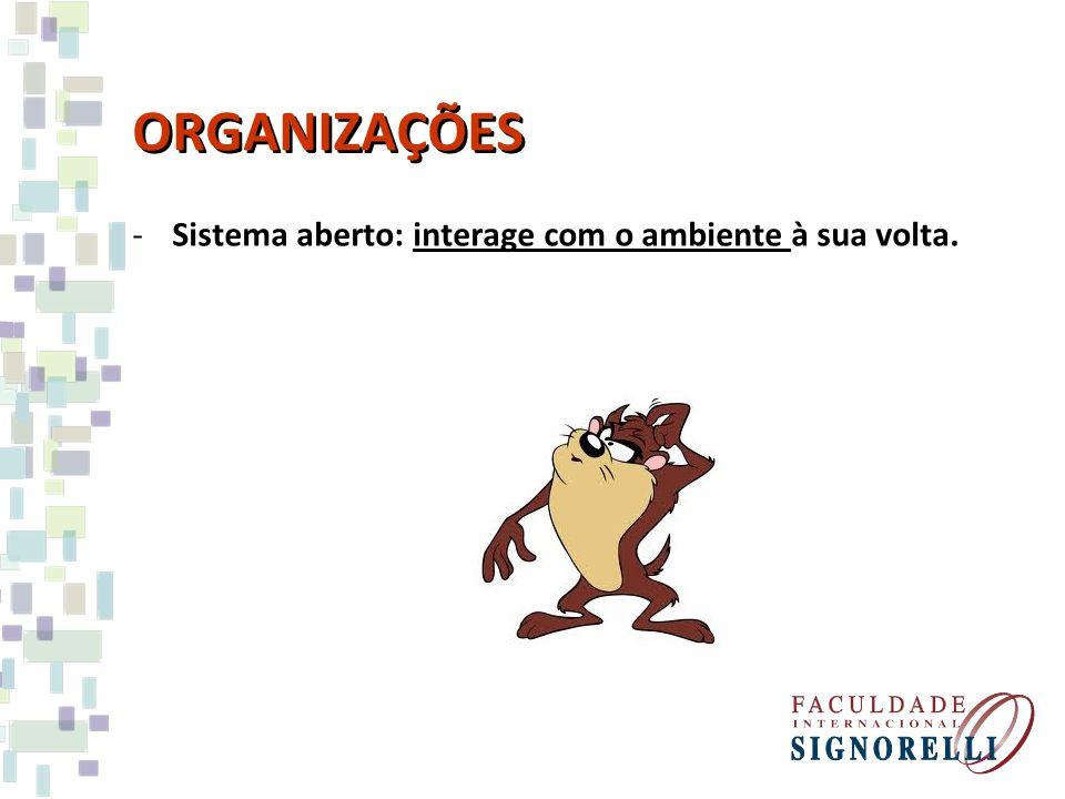 ORGANIZAÇÕES -Sistema aberto: interage com o ambiente à sua volta.