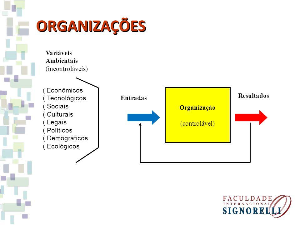 Variáveis Ambientais (incontroláveis) ( Econômicos ( Tecnológicos ( Sociais ( Culturais ( Legais ( Políticos ( Demográficos ( Ecológicos Entradas Orga