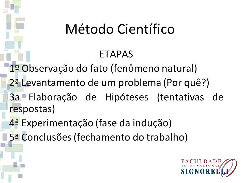 Método Científico ETAPAS 1º Observação do fato (fenômeno natural) 2ª Levantamento de um problema (Por quê?) 3a Elaboração de Hipóteses (tentativas de