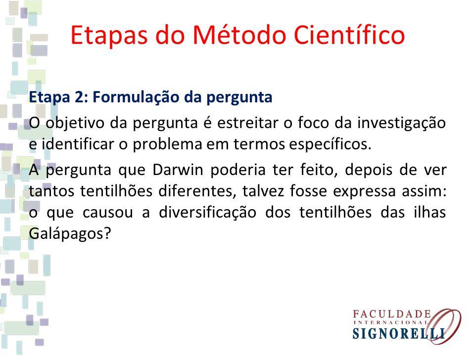 Etapas do Método Científico Etapa 2: Formulação da pergunta O objetivo da pergunta é estreitar o foco da investigação e identificar o problema em term
