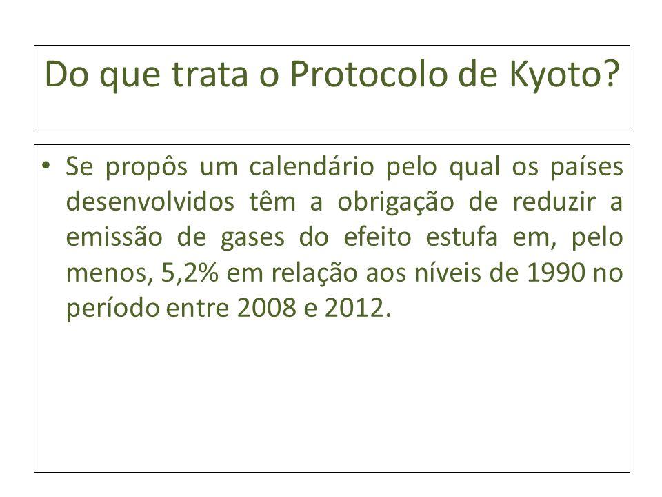 Do que trata o Protocolo de Kyoto? Se propôs um calendário pelo qual os países desenvolvidos têm a obrigação de reduzir a emissão de gases do efeito e