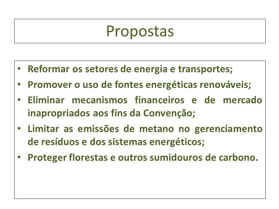Propostas Reformar os setores de energia e transportes; Promover o uso de fontes energéticas renováveis; Eliminar mecanismos financeiros e de mercado