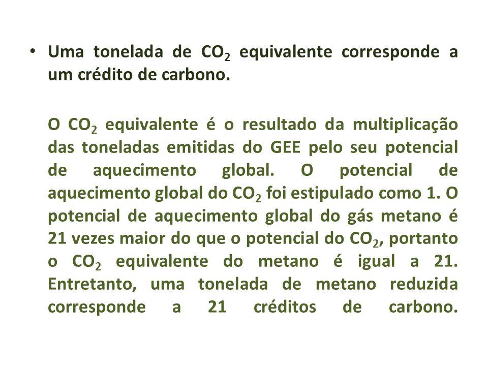 Uma tonelada de CO 2 equivalente corresponde a um crédito de carbono. O CO 2 equivalente é o resultado da multiplicação das toneladas emitidas do GEE