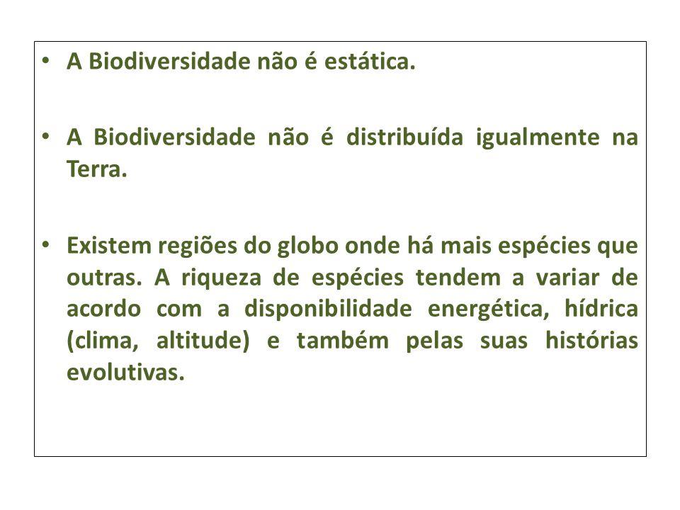 A Biodiversidade não é estática. A Biodiversidade não é distribuída igualmente na Terra. Existem regiões do globo onde há mais espécies que outras. A