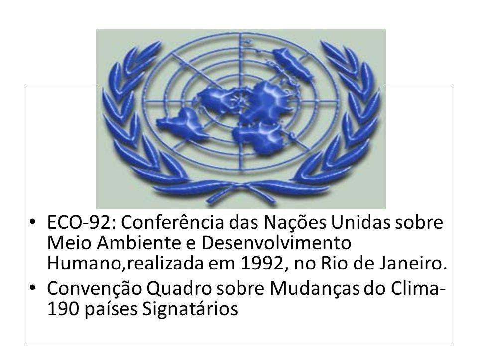 ECO-92: Conferência das Nações Unidas sobre Meio Ambiente e Desenvolvimento Humano,realizada em 1992, no Rio de Janeiro. Convenção Quadro sobre Mudanç